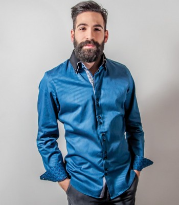 Shirt-Men-Long-sleeve-shirt-2-Button-slim-satin-medium-stripe-Seaport-Blue-Black