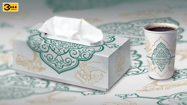 یک ست لیوان و جعبه دستمال کاغذی و سفره یکبار مصرف زیبا و هنری