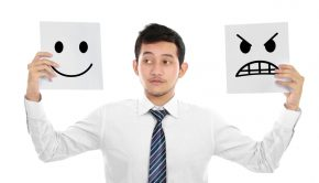 Young business man hold the sign of expression